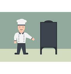 Chef with menu board flat graphic vector
