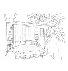 Contemporary interior doodles bedroom vector