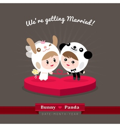 Cute kawaii groom and bride character vector image