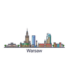 flat line warsaw banner vector image vector image