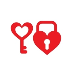 Flat web icon on white background key lock heart vector image vector image