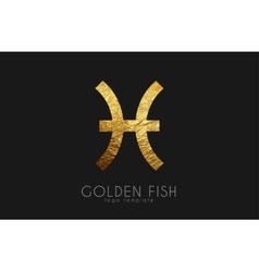 Golden fish golden zodiac sign fish zodiac vector