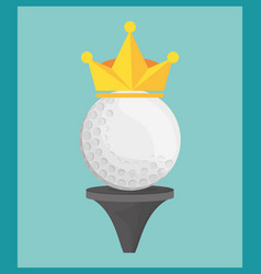 Golf ball on tee crown vector