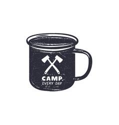 hand drawn camping mug shape label with vector image vector image