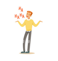 Happy young redhead man in an yellow pullover vector