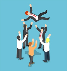 Isometric businessman being throw up in the air vector