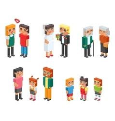Isometric family couples children kids people vector