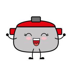 Kawaii cooking pot icon vector