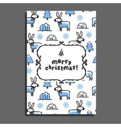Merry christmas greeting card with cute cartoon vector image