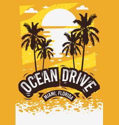 Ocean drive miami beach florida summer poster vector
