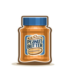 Peanut butter jar with label vector