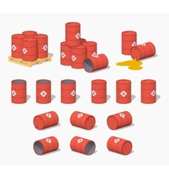 Red metal barrels with the fuel vector image