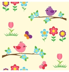 Seamless pattern with blooming branches vector image vector image
