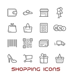Shopping and retail thin line icons vector