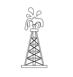 Silhouette with oil crude tower vector