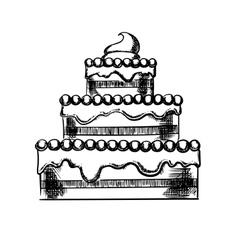 Sketch of a big pie with cream vector