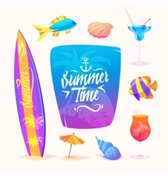 Summer elements Isolated vector image vector image