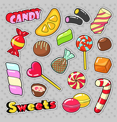 Sweets food candies stickers patches badges vector