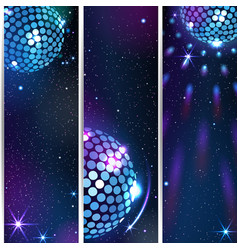 Three vertical disco backgrounds vector
