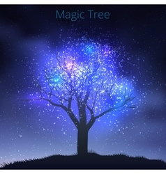Tree silouette with starry sky vector