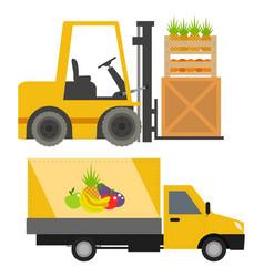 trucks loader shipping cars vehicles cargo vector image vector image