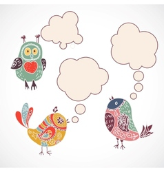 Vintage birds set with speech bubbles on white vector image vector image