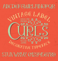 vintage label curls poster vector image vector image