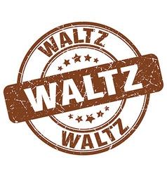 waltz brown grunge round vintage rubber stamp vector image vector image
