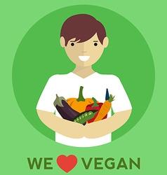 We love vegan vegan food vector