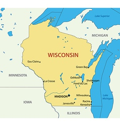 Wisconsin - map vector image vector image