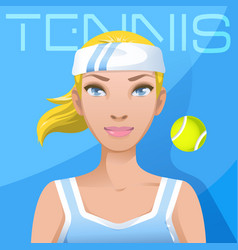 Young woman tennis player avatar sport active vector