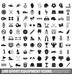 100 sport equipment icons set simple style vector