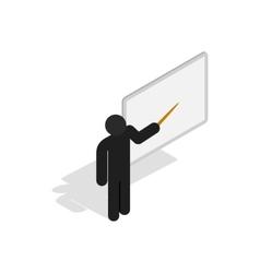 Teacher near the blackboard with pointer icon vector