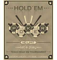 Poker background in retro style with poker chips vector