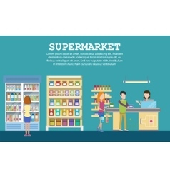 Supermarket interior with grocery milk packs vector
