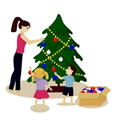 Mother and children decorate christmas tree vector