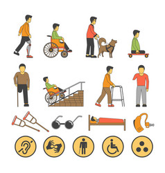 Disability handicapped people with limited vector