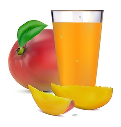 Mango juice in a glass and fruit vector
