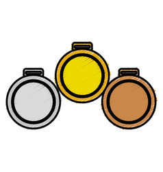 Set championship medals isolated icon vector