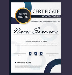 Blue circle elegance vertical certificate with vector