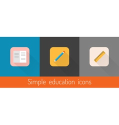 Set of three flat education themed icons vector