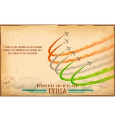 Airplane making indian tricolor flag in sky vector