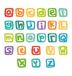 Funny english alphabet in colorful squares vector