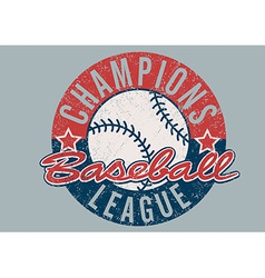 Baseball champions league distressed print vector