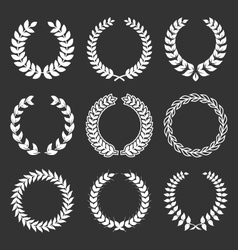 Vintage decorative laurels elements set vector