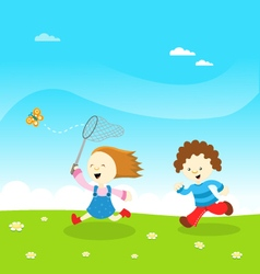 Kids catching butterfly vector