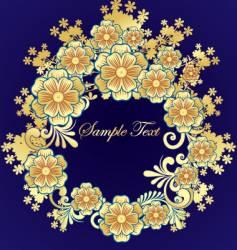 golden flower frame vector image