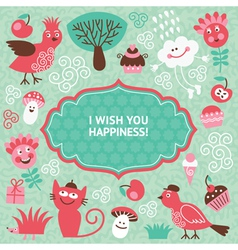 cute cartoon elements greeting card vector image