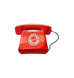 Red retro phone icon cartoon style vector