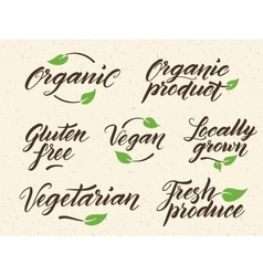 Hand drawn healthy food letterings label logo vector
